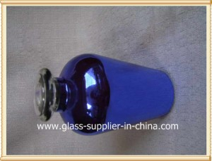 Blue plated  glass bottle