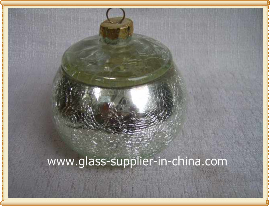 silver crackle glass jar with glass lid